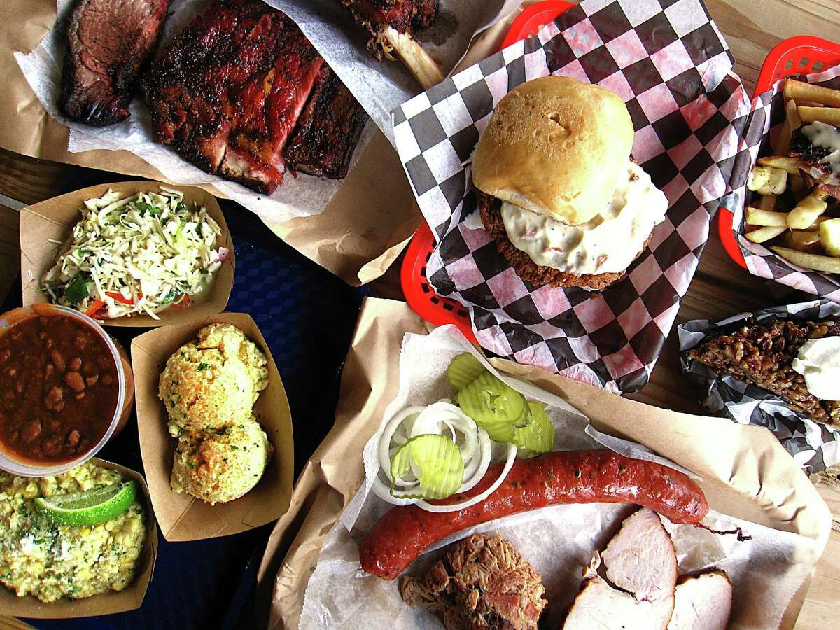 A spread of barbecue, sides, desserts and a burger from Texas 46 BBQ.