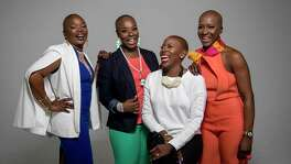 Rhonda Robeaux, from left, Jotina Buck, Hahleemah Wright Ellison and Simone Dobbs pose for a portrait in the Houston Chronicle studio, Thursday, March 1, 2018, in Houston. The women, for varied personal reasons, have kept their heads shaved.  ( Jon Shapley / Houston Chronicle )
