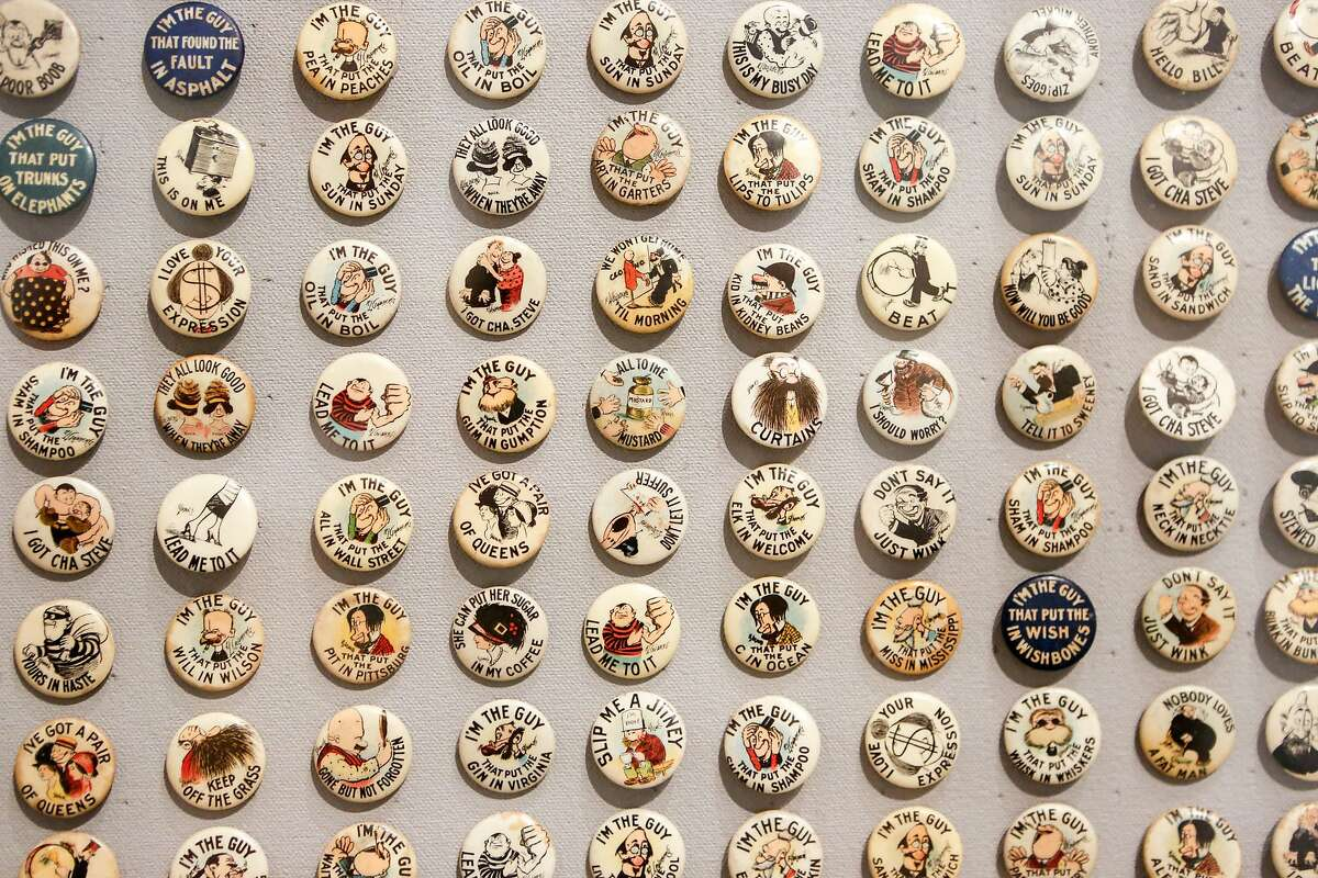 Rube Goldberg cartoons on buttons is displayed at the exhibition at the Contemporary Jewish Museum during a press preview on Wednesday, March 14, 2018 in San Francisco, California. Goldberg was a noted San Francisco cartoonist who became nationally famous.