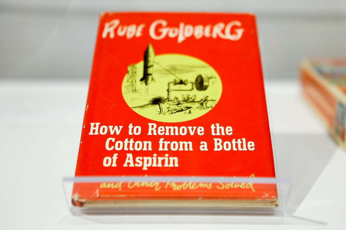 A book by Rube Goldberg is seen at his exhibition at Contemporary Jewish Museum during a press preview on Wednesday, March 14, 2018 in San Francisco, California. Goldberg was a noted San Francisco cartoonist who became nationally famous.