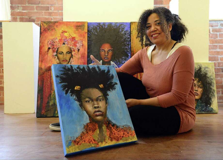 "Loft Artists Association member Christa Forrest, a co-director of the association, is photographed on Tuesday, March 13, 2018 at the LAA studio and gallery in Stamford, Connecticut. Forrest is opening a solo show on March 16,  called the ""Emerging Goddess"" that feature mixed-media pieces centered on images of powerful women. Photo: Matthew Brown / Hearst Connecticut Media / Stamford Advocate"