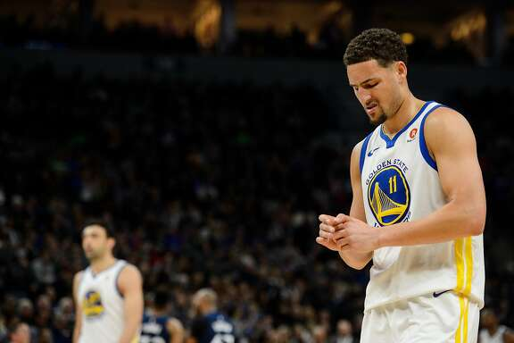 MINNEAPOLIS, MN - MARCH 11: Klay Thompson #11 of the Golden State Warriors looks on during the game against the Minnesota Timberwolves on March 11, 2018 at the Target Center in Minneapolis, Minnesota. NOTE TO USER: User expressly acknowledges and agrees that, by downloading and or using this Photograph, user is consenting to the terms and conditions of the Getty Images License Agreement. (Photo by Hannah Foslien/Getty Images)