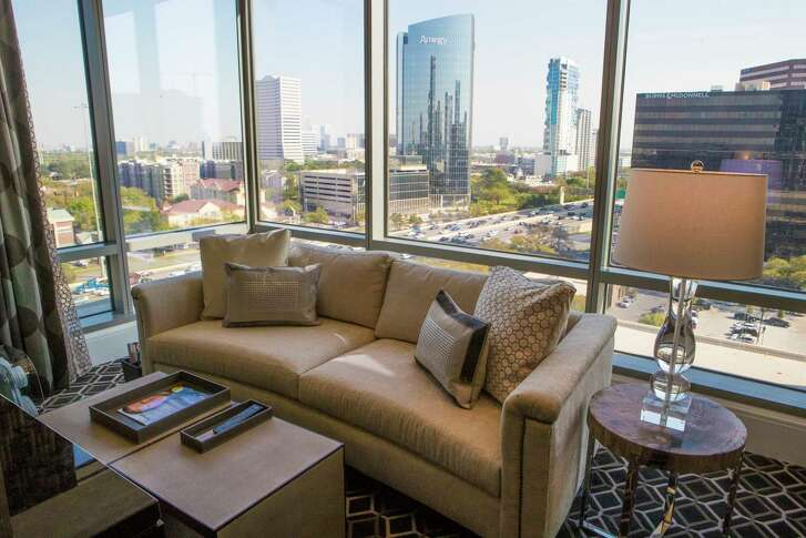 Guest room with a view of Houston at The Post Oak Hotel. Wednesday, March 14, 2018, in Houston.