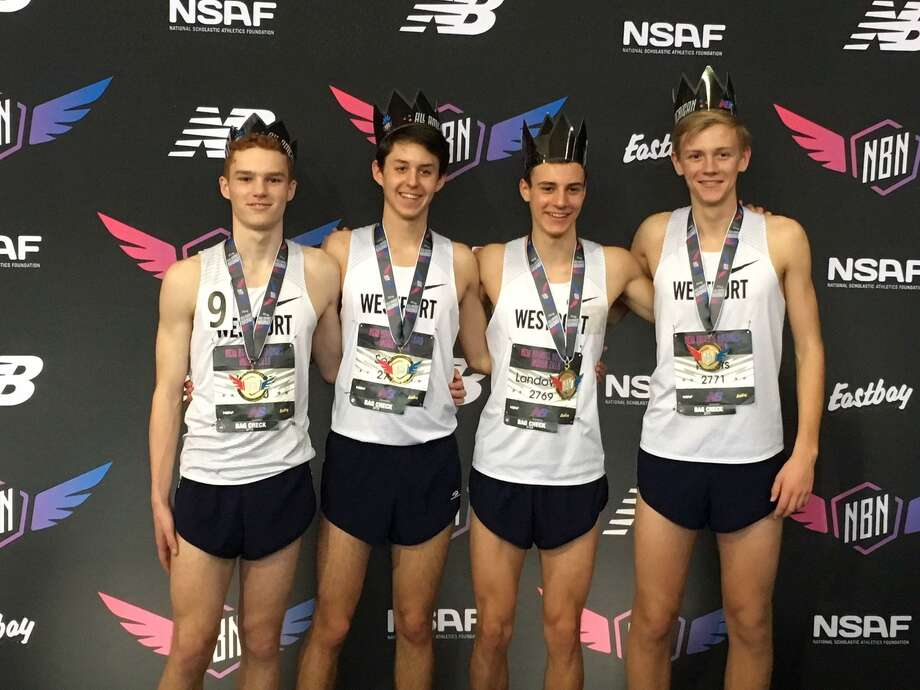 Staples Ben Seiple, Luke Lorenz, Christian Myers, and William Landowne pose after breaking the school record 4xMile record at the New Balance Indoor National Championships last weekend. The Wreckers finished fourth. Photo: Contributed Photo