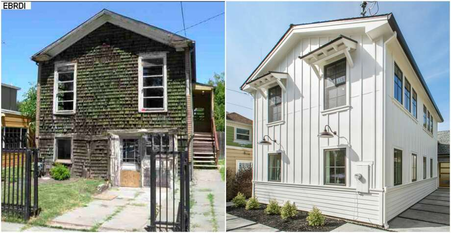 Before-and-after images of a home at 905 Hearst in Berkeley show a rustic cottage that was fully renovated into a modern home with the feel of a Napa country house. Photo: Open Homes Photography