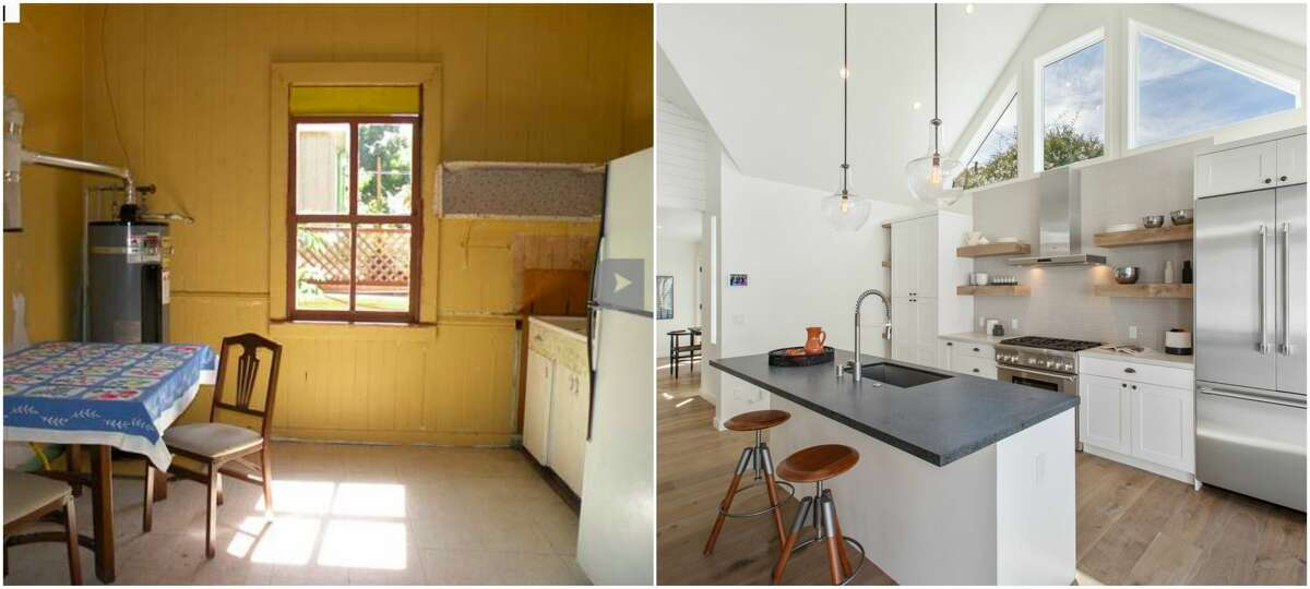 Before-and-after images of a home at 905 Hearst in Berkeley show a rustic cottage that was fully renovated into a modern home with the feel of a Napa country house.