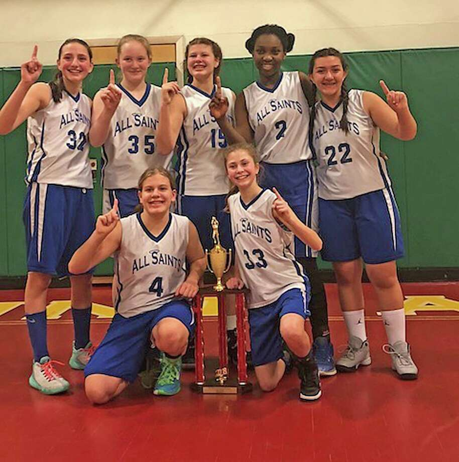The eighth-grade team from All Saints in Norwalk won the St. Ann's championship. Players included Kayla Angrand, KK Geignetter, Mia Geignetter, Olivia Mattera, Lila Pinho, Morgan White and Jaclyn Zerrusen. Photo: Contributed Photo