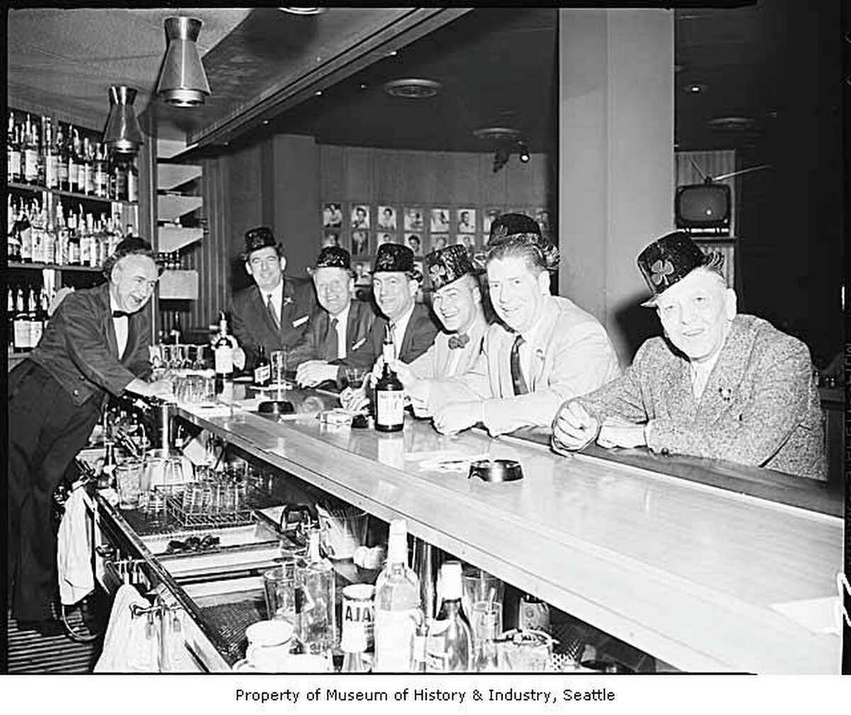 El Gaucho interior showing men at the bar on St. Patrick's Day, Seattle, March 17, 1959. Courtesy of Mohai, Robert H. Miller Collection, 2002.46.15