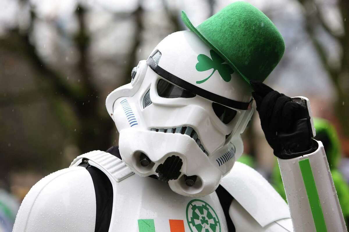A stormtrooper sports Irish flair during the annual St. Patrick's Day parade in downtown Seattle, Saturday, March 11, 2017. (Genna Martin, seattlepi.com)