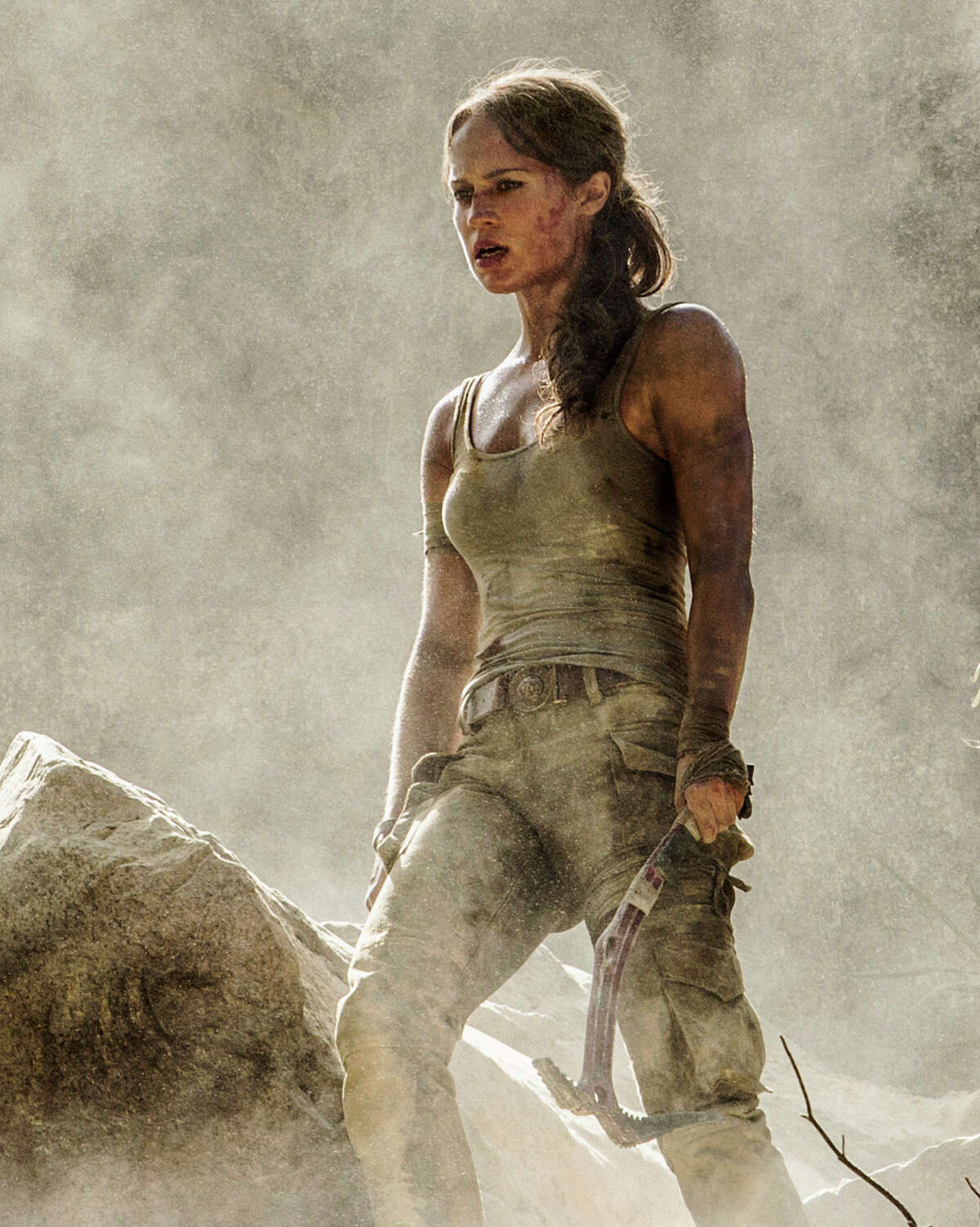 """This image released by Warner Bros. Pictures shows Alicia Vikander in a scene from """"Tomb Raider."""" (Ilze Kitshoff/Warner Bros. Pictures via AP)"""