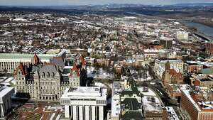 Clear skies and crisp afternoon sunlight yielded some excellent views of Albany from Corning Tower on Thursday, March 15, 2018, in Albany, N.Y. (Will Waldron/Times Union)