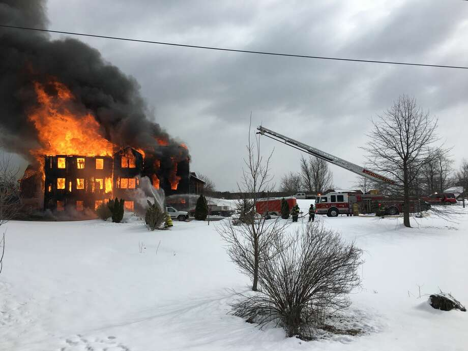A fire engulfed a Route 82 home in Livingston, N.Y. on March 14, 2018. Photo: State Police