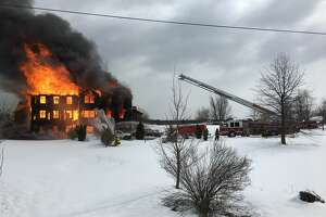 A fire engulfed a Route 82 home in Livingston, N.Y. on March 14, 2018.