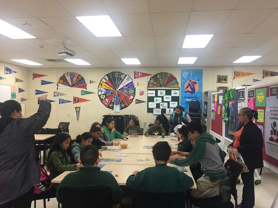 Middle school students at Coliseum College Preparatory Academy work in the school's Future Center. Photo: Courtesy Of Coliseum College Preparatory Academy