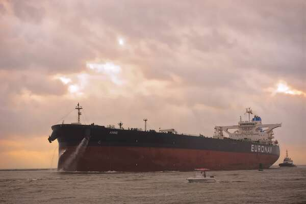 """Photo by Eddie Seal  Super tanker """"Anne""""  sails through the Port of Corpus Christi Ship Channel at Port Aransas to the Oxy Ingleside Energy Center export terminal on Friday, May 26, 2017"""