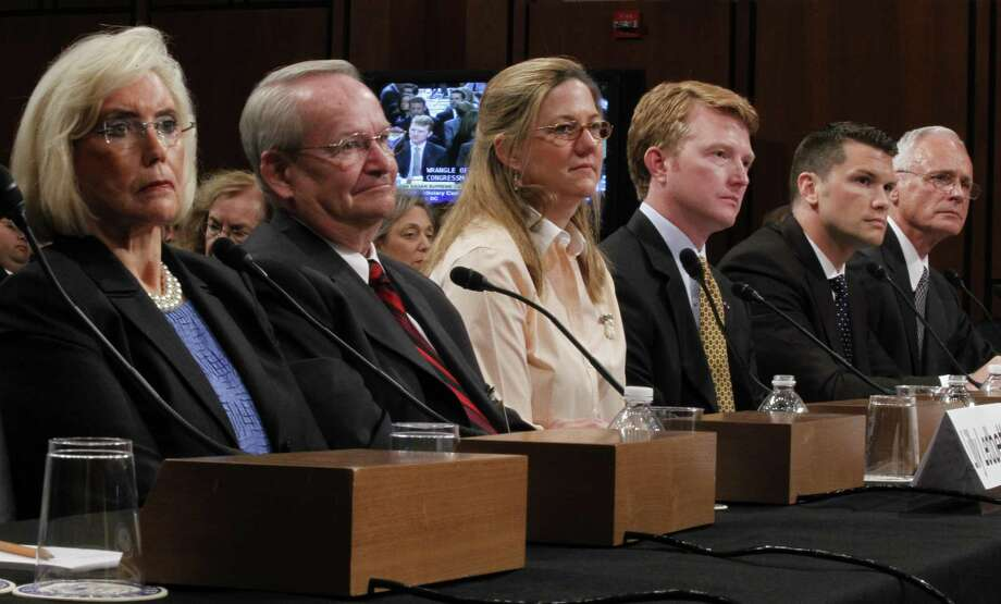 "From left, Lilly Ledbetter, Jack Gross, Jennifer Gibbins, Capt. Flagg Youngblood, Capt. Pete Hegseth, and Col. Thomas N. Moe, testify on Capitol Hill in Washington in 2010. Hegseth, co-host of ""Fox & Friends Weekend,"" is under consideration to head Veterans Affairs. Photo: Pablo Martinez Monsivais / Associated Press File / ONLINE_YES"