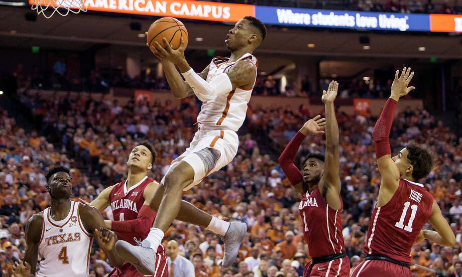 Texas guard Kerwin Roach soars toward the rim. He is the only UT player with NCAA Tournament experience. Photo: Nick Wagner, MBO / Austin American-Statesman