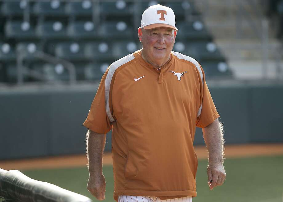 Texas head coach Augie Garrido is all smiles before the start of their game against Texas State in a non-conference game at UFCU Disch-Falk Field Tuesday evening April 21, 2015.  RALPH BARRERA/ AMERICAN-STATESMAN Photo: Ralph Barrera / Austin American-Statesman / Austin American-Statesman. State