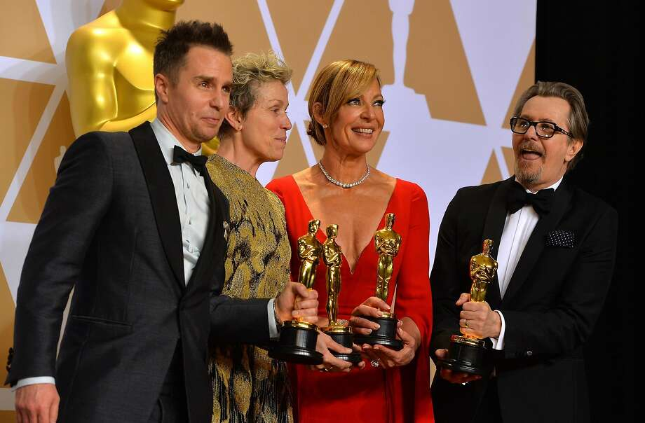 Sam Rockwell (left), Frances McDormand, who made a plea for diversity, Allison Janney and Gary Oldman backstage at this year's Academy Awards. Photo: Scott Varley, TNS