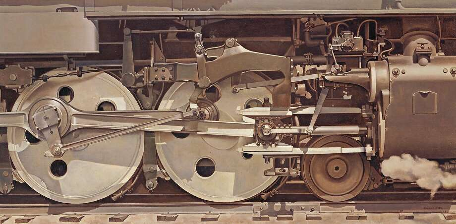 """Charles Sheeler's painting """"Rolling Power"""" (1939) is on view at de Young Museum. Photo: Smith College Museum Of Art"""