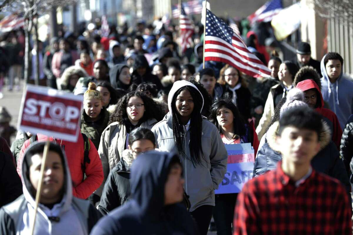 Students from James Ferris High School in Jersey City, N.J., joined students across the country who participated in walkouts on March 14 to protest gun violence, one month after the deadly shooting inside a high school in Parkland, Fla. (AP Photo/Julio Cortez)