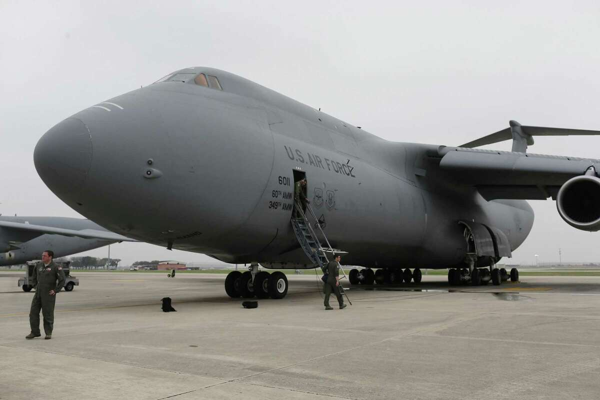 Air Force Reserve's crew members board a C5-M Super Galaxy before a flight at Joint Base San Antonio- Lackland, Monday, Feb. 27, 2017. The crew with the 433rd Airlift Wing, known as the Alamo Wing, was headed to Fort Drum, New York to pick up U.S. Army UH-60 Blackhawk helicopters and soldiers from the U.S. Army 10th Combat Aviation Brigade, 10th Mountain Division. They were tasked with taking the cargo and soldiers to Riga, Latvia in support of Operation Atlantic Resolve.