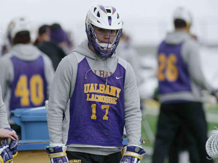 UAlbany men's lacrosse midfielder, Jakob Patterson, takes part in practice on Thursday, March 15, 2018, in Albany, N.Y.  (Paul Buckowski/Times Union) Photo: PAUL BUCKOWSKI / (Paul Buckowski/Times Union)