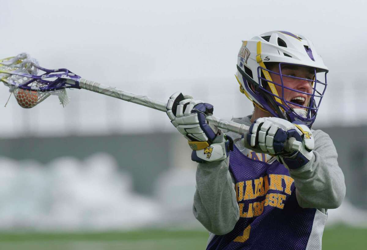 UAlbany men's lacrosse attackman, Connor Fields, takes part in practice on Thursday, March 15, 2018, in Albany, N.Y. (Paul Buckowski/Times Union)