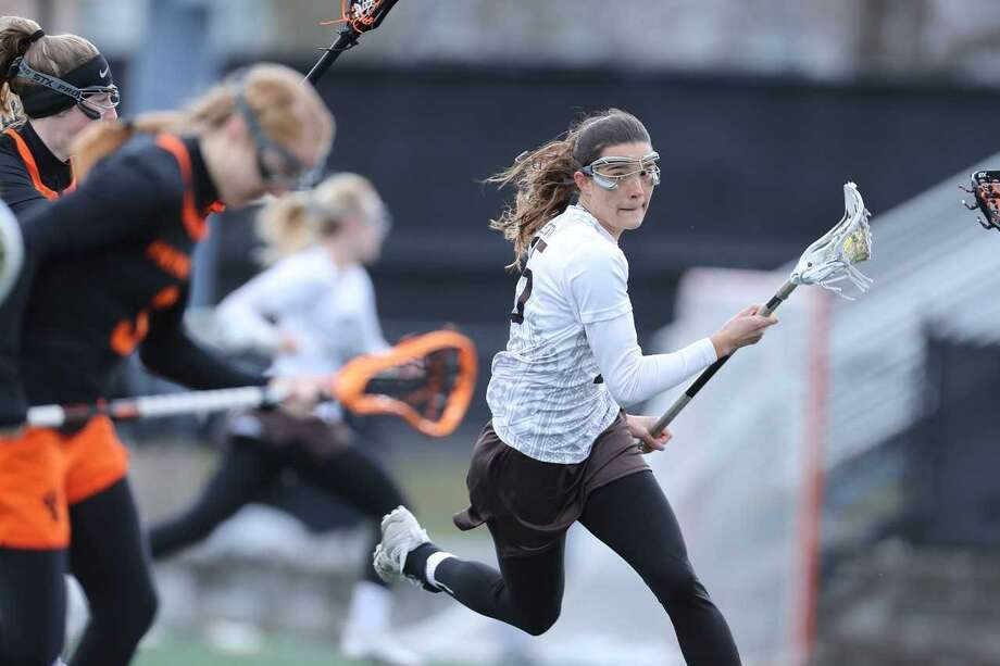 Senior Carolyn Paletta is one of Brown's top midfielders. She has seven goals and three assists this season. Photo: Photo Courtesy Brown University / David Silverman