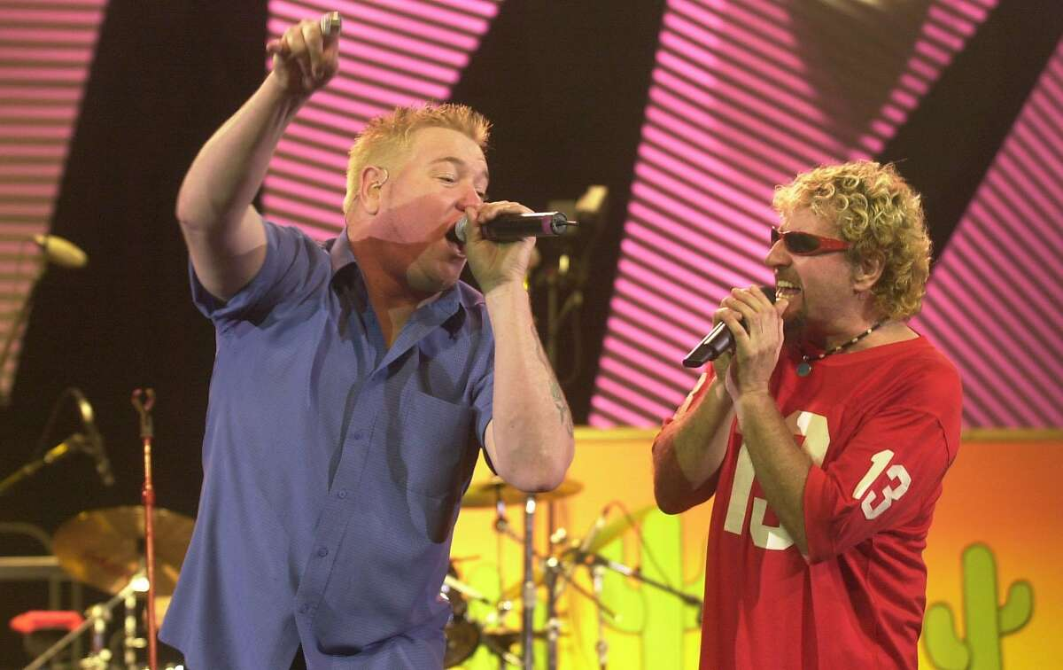 """BAMMIES29A-C-26APR02-DD-LA Smash Mouth performs """"I am a believer"""" with Sammy Hagar, in the finially of the 25th Bammies, in Oakland, Saturday April 26,02. PHOTO BY LACY ATKINS/CHRONICLE"""
