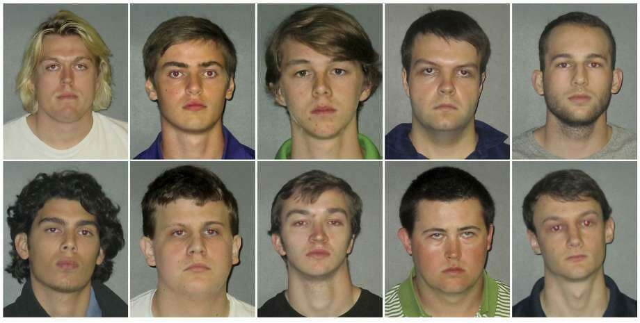 This combination of undated images shows from top row left to right: Sean Paul Gott, Ryan Isto, Sean Pennison, Elliot Eaton, Nicholas Taulli, and bottom row from left to right, Zachary Castillo, Hudson Kirkpatrick, Zachary Hall, Patrick Forde, and Matthew Naquin. Multiple people were arrested Wednesday, Oct. 11, 2017, on hazing charges in the death of Maxwell Gruver, a Louisiana State University fraternity pledge whose blood-alcohol content level was more than six times the legal limit for driving, officials said. Naquin also faces a negligent homicide charge. Photo: East Baton Rouge Parish Sheriff's Office /AP