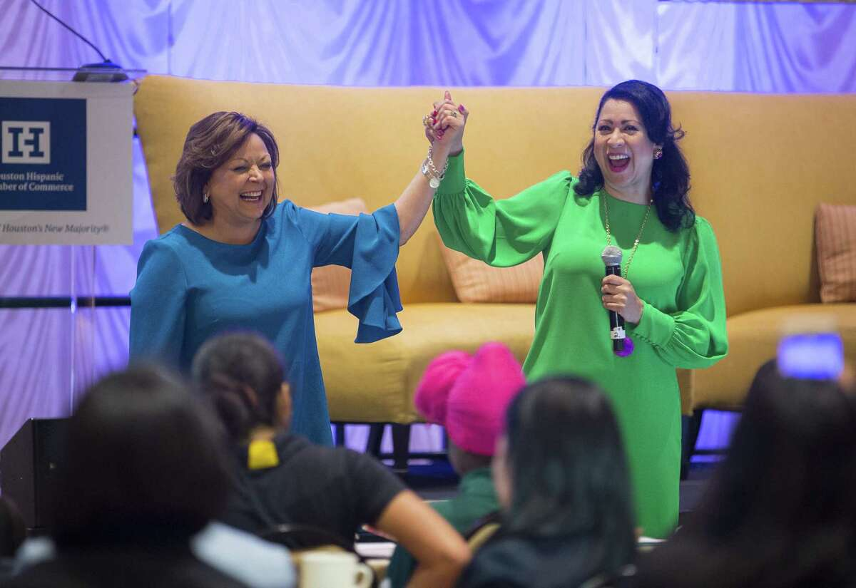 New Mexico Governor Susana Martinez (left) and Laura Murillo, president & CEO of the Houston Hispanic Chamber of Commerce, speak to Houston-area high school students during their fourth annual Women?'s Leadership Conference & Business Expo, Thursday, March 15, 2018, in Houston. ( Mark Mulligan / Houston Chronicle )