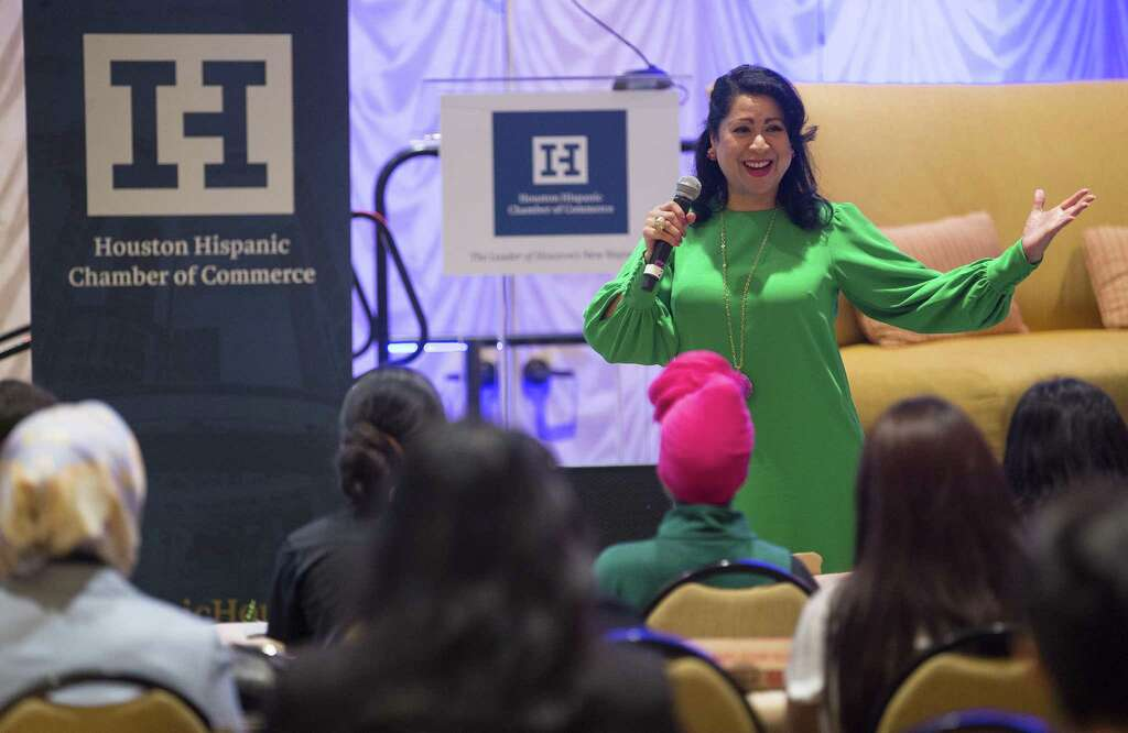 Laura Murillo, president & CEO of the Houston Hispanic Chamber of Commerce, speaks to Houston-area high school students during their fourth annual Women's Leadership Conference & Business Expo, Thursday, March 15, 2018, in Houston. ( Mark Mulligan / Houston Chronicle ) Photo: Mark Mulligan, Houston Chronicle / Houston Chronicle / © 2018 Houston Chronicle