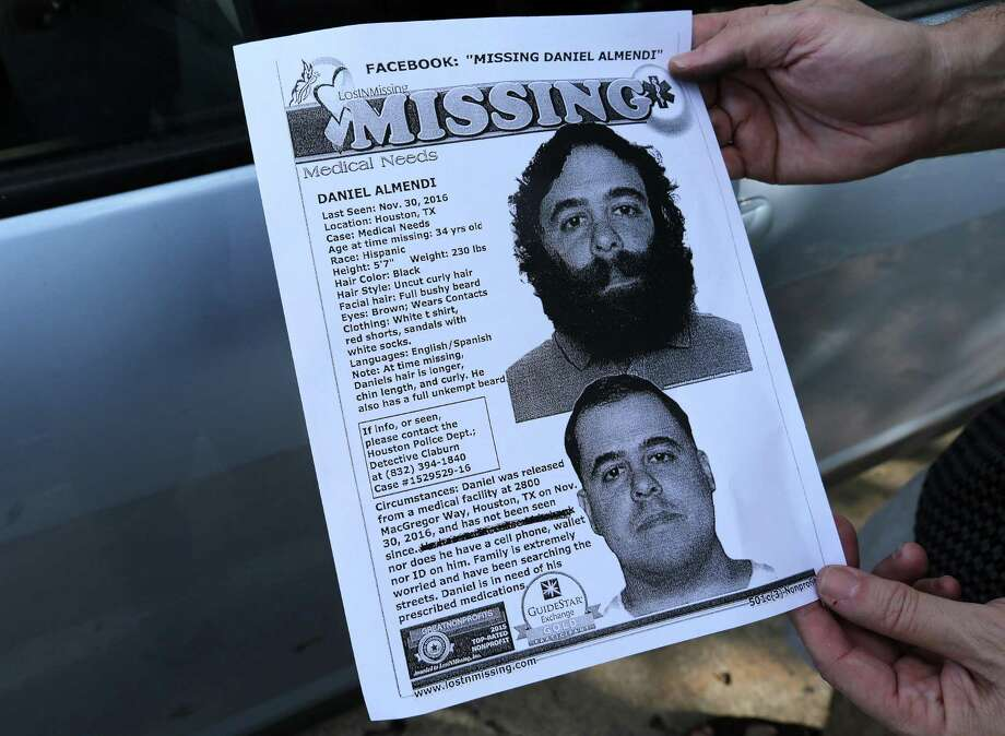 George Ruano hands out fliers including pictures and information about his missing brother, Thursday, Jan. 12, 2017, in Houston. Ruano has been searching for his brother, Daniel Almendi, who suffers from schizophrenia, since Daniel was released from the Harris County Psychiatric Center on Nov. 30, 2016. ( Mark Mulligan / Houston Chronicle ) Photo: Mark Mulligan, Staff / Houston Chronicle / © 2017 Houston Chronicle