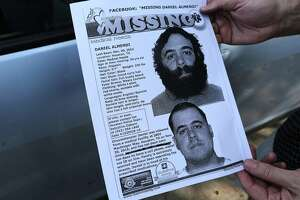 George Ruano hands out fliers including pictures and information about his missing brother, Thursday, Jan. 12, 2017, in Houston. Ruano has been searching for his brother, Daniel Almendi, who suffers from schizophrenia, since Daniel was released from the Harris County Psychiatric Center on Nov. 30, 2016. ( Mark Mulligan / Houston Chronicle )