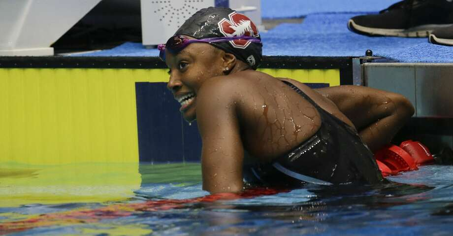 Simone Manuel of Sugar Land won her third NCAA title in the 50-meter freestyle on Thursday at the NCAA Championships in Columbus, Ohio. Photo: AJ Mast/Associated Press