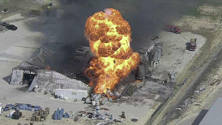 A KDFW-TV image shows a massive fire at the Tri-Chem Industries plant in Cresson, southwest of Dallas. Photo: Associated Press / KDFW