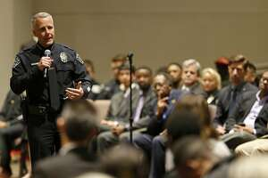 Austin Police Chief Brian Manley speaks, Thursday March 15, 2018 at the Greater Mt. Zion Baptist Church in Austin, Tx., during a town hall meeting to discuss the recent Austin bombings.