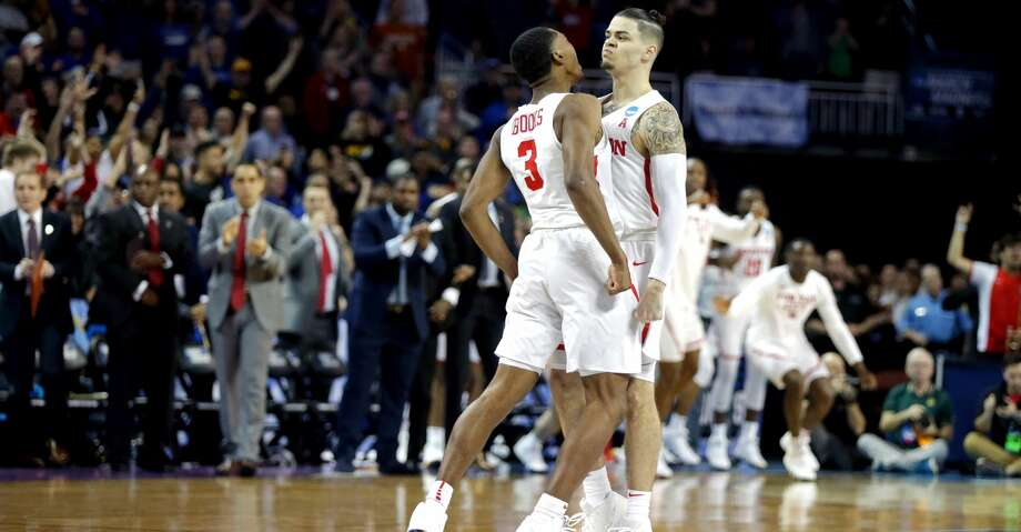 WICHITA, KS - MARCH 15:  Rob Gray #32 is congratulated by his teammate Armoni Brooks #3 of the Houston Cougars after scoring the game-winning basket against the San Diego State Aztecs during the second half of the first round of the 2018 NCAA Men's Basketball Tournament at INTRUST Arena on March 15, 2018 in Wichita, Kansas. The Houston Cougars defeated the San Diego State Aztecs 67-65.  (Photo by Jeff Gross/Getty Images) Photo: Jeff Gross/Getty Images