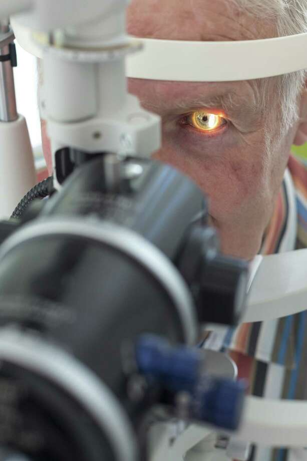 A patient is examined to check for cataracts.