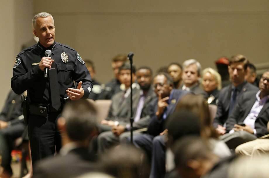 Austin Police Chief Brian Manley addresses a town hall  at the Greater Mt. Zion Baptist Church in Austin. Photo: Edward A. Ornelas / Edward A. Ornelas / San Antonio Express-News / © 2018 San Antonio Express-News