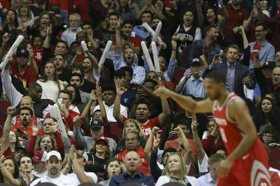 Houston Rockets fans cheer for Houston Rockets guard Eric Gordon's back-to-back three-pointers during the third quarter of the NBA game at Toyota Center on Thursday, March 15, 2018, in Houston. The Houston Rockets defeated the LA Clippers 101-96. ( Yi-Chin Lee / Houston Chronicle )