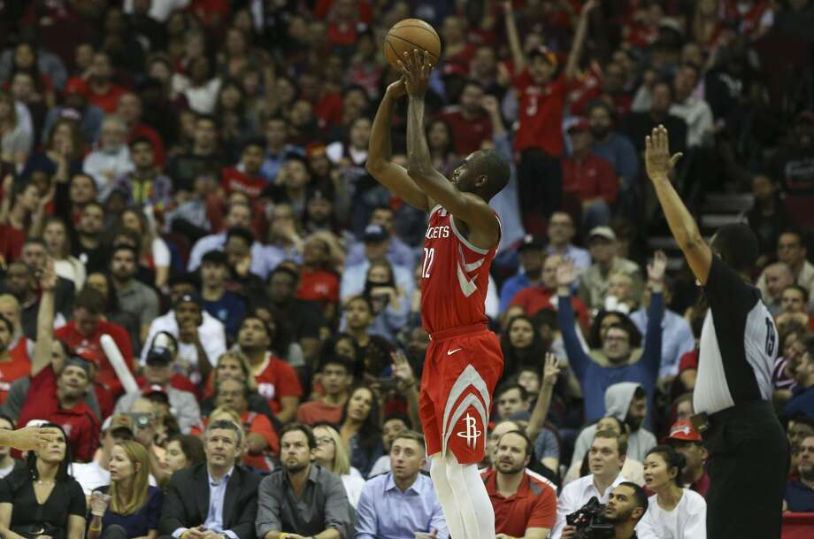 Houston Rockets forward Luc Mbah a Moute (12) aims at the basket during the fourth quarter of the NBA game at Toyota Center on Thursday, March 15, 2018, in Houston. The Houston Rockets defeated the LA Clippers 101-96. ( Yi-Chin Lee / Houston Chronicle ) Photo: Yi-Chin Lee/Houston Chronicle