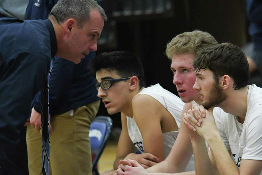 Lake George basketball coach Dave Jones talks to players on the bench prior to the second half of a home game against Argyle on Friday, Jan. 12, 2017, in Lake George, N.Y. (Jenn March/Special to the Times Union) Photo: Jenn March / © Jenn March 2017-18 © Albany Times Union 2017-18
