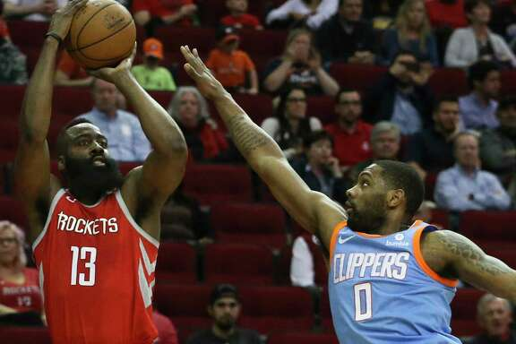James Harden shoots over Clippers guard Sindarius Thornwell in the first quarter. Harden finished with a team-high 24 points.