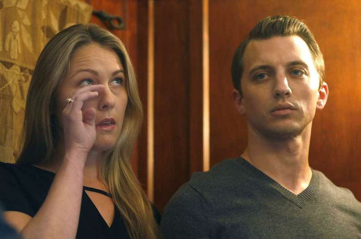 Denise Huskins and Aaron Quinn appear at a news conference with attorney Doug Rappaport in San Francisco, Calif. on Thursday, Sept. 29, 2016. Huskins and Quinn were victims in the bizarre Vallejo kidnapping case in March 2015. The coupled settled a lawsuit with the city of Vallejo for $2.5 million on Thursday.