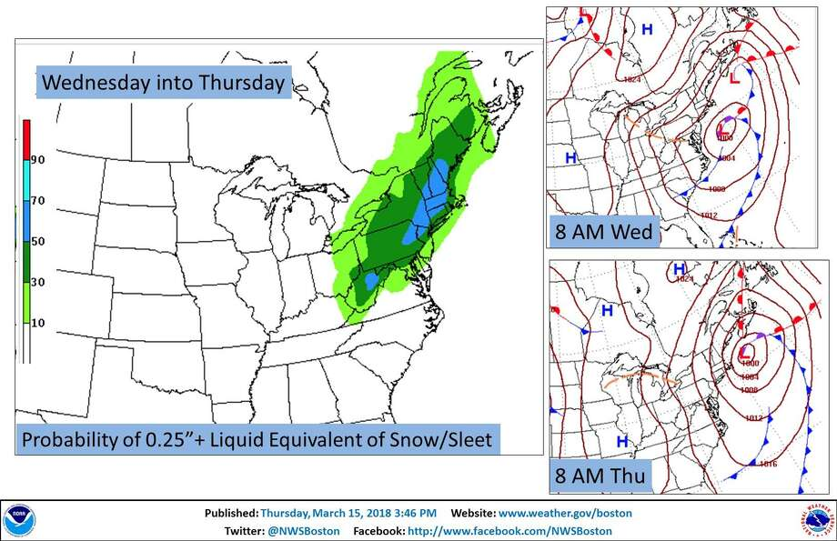 The currently projected forcast for precipitation Wednesday into Thursday. Photo: Contributed Photo