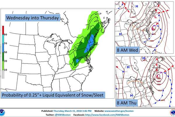 The currently projected forcast for precipitation Wednesday into Thursday.