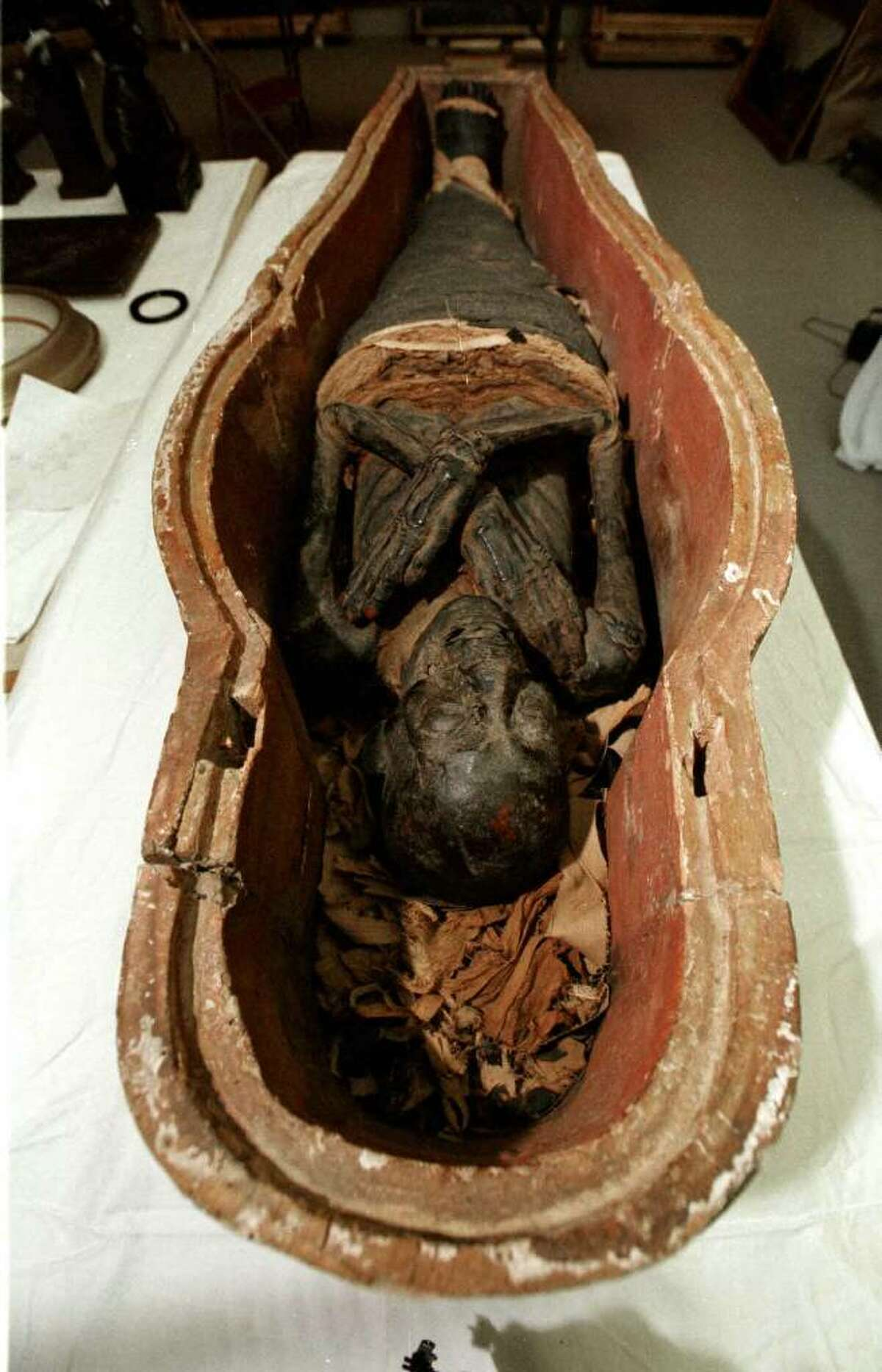 Egyptian mummy circa 900 B.C. at the Albany Institute of History & Art Albany , New York. (Michael Farrell/Times Union Archive).