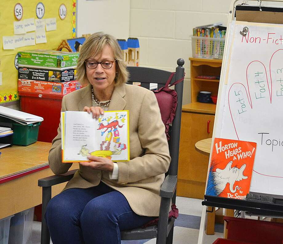 State Rep. Terrie Wood, R-141, read a Dr. Seuss book to a class at Royle School in Darien on March 2, Read Across America Day. Photo: Contributed Photo